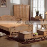 Latest New Design Double French rattan bed rattan frame bedroom