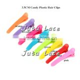 Mini Candy Plastic Hair Clips, Grosgrain Covered Metal double prong Hair clips