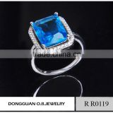 Brass material 925 silver ring with blue stone alibaba big stone ring designs