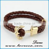 Women Men Multilayer faux Leather cuff bracelet Handmade Wristband Hope Anchor Bracelet Bangle
