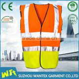 fluo yellow safety working vest reflective working vest wholesale polyester construction vest