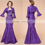 Strapless beaded ruched long sleeve purple custom-made mother of the bride dress CWFam4775