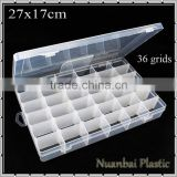 36 compartments Clear PP Plastic DIY Tool Organizer Storage Box with Adjustable Dividers