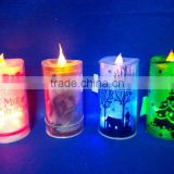 plastic LED battery operated printing Christmas candle decoration
