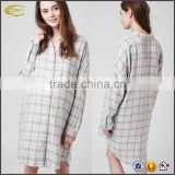 Ecoach Wholesale ladies causal long sleeves pajamas comfortable night wear summer all over grey checks night shirt for pregnant
