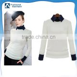 collar neck women plain white wholesale blank 100 cotton slim fit t shirts bulk long sleeve manufacturers china