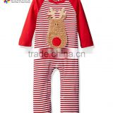 2017 winter baby clothes cute christmas raglan sleeve fabric emboridery soft cotton pajamas