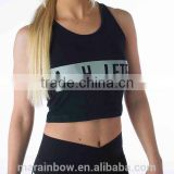 Womens 94% Cotton 6% Spandex Crop Top Custom Printed Cropped Tee Performance Sports Shirts Black Printed Crop Top