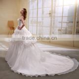 A-Line Satin/Organza Strapless Pearls Beaded Long Trail Gown Wedding dress ball gowns bridal gowns