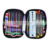 Crochet Hook Case Organizer Zipper Bag with Web Pockets for Various Crochet Needles and Knitting Accessories