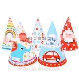 Party custome design haNewt funny birthday paper hats ribbon for kids wholesale MFJ-0105