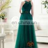 Halter Beaded Emerald Green Women Maxi Evening Dress HMY-CDE008 Dresses vestidos de fiesta