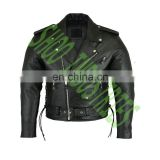 Classic BRANDO Black Blue Flame Men's Motorcycle Biker Hide Real Leather Jacket
