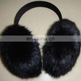 black color real rabbit fur ear warmers