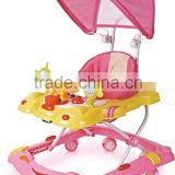 Round Plasitc Toy Out door Baby Walker With Push Bar and Canopy LW19-887C