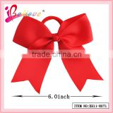 Hot sale solid color 6 inch large ribbon bow hair band elastic hair ties for fashion girls (XH11-8071)