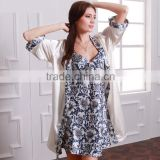 Womens faux silk Luxury 2 piece sleepwear sets, blue and white porcelain printed nightgown and robe sets