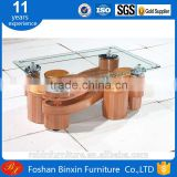 "Living room furniture RB-861 modern ""S"" Shape transparent glass&pu coffee table rectangular glass tea table with small stool"