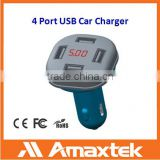 High Power 4 Port USB Car Charger for All Electrical Appliances with USB Charging Interface