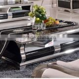 2016 Hot Sales Factory Supply Natural Black Marble Top Stainless Steel Leg Coffee Table