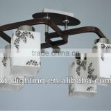 2014 best selling white square tube glass ceiling lamp CE approved XD9001/4-E27