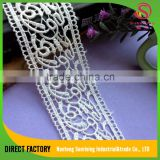 Cheapest price china manufacturing 4CM polyester fancy lace borders ,guipure lace trim lace band for Garment,dress,home textile