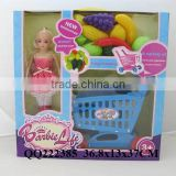 new kids toy plastic barbie shopping cart with fruits and vegetables shopping cart play set toys