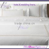 100% cotton white plain weaving duvet covers, bed sheets, pillow cases hotel bed linens with embroidery border