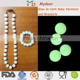 FDA Baby Teether Necklace OEM Silicone Teething Silicone Glow In The Dark Beads                                                                         Quality Choice