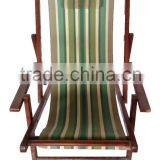 solid wood beach chair armrest Deck Chair foldable canvas lounge chair outdoor balcony