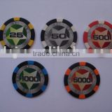 six-stripe clay poker chip