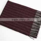 Cashmere Horizontal Stripe Scarf With Fringe