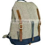 Custom canvas backpack Canvas laptop backpacK Canvas drawstring backpack Genuine leather canvas bag