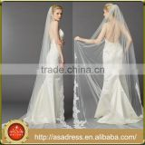 GR-01 New Arrival Lace Appliques Wedding Veil 3 Meters One Layer Long Bridal Veils                                                                         Quality Choice
