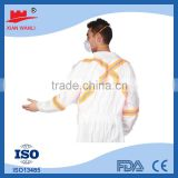 Wuhan factory type4/5/6 SMS 55g Non-woven Safety Coverall,protective safety waterproof disposable polypropylene coverall