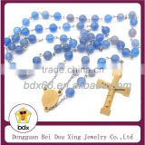 High-end Stainless Steel Religious Chalcedony Agated 8mm Rosary Beads Necklace With INRI Jesus Cross Crucifix Pectoral Pendant