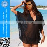 Popular black shiffon bat style beach wrap dress newest tunic beach cover up