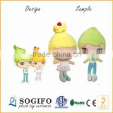 Guangdong EPA Customize 12 Inch Environmental Mascot Cute lovely girl stuffed doll with Keychain