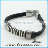 Wholesale cheap engraved braided leather bracelet with fashion charm and stainless steel buckle