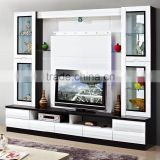 glass showroom cabinet white wall tv unit