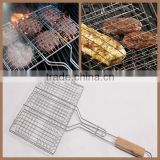 Chrome-Plated Metal Six Hamburger BBQ Grill Basket & Wire Meat Barbecue Grid Wood handle on sale