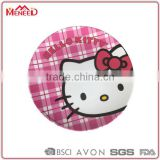 Food grade children's melamine ware girls favorite pink kitten face printed round plastic plate for kids