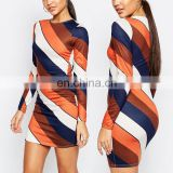 New Popular European Stylish Women Fire Striped Designer Long Sleeve Colorblock Mini Pencil Dress