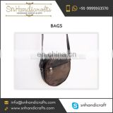 Dark Brown Leather Round Messenger Bags for Sale