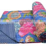 "Kantha work Quilt Gudri Reversible Throw 60""x90"" Ralli Cotton Twin Fruit print Blanket handmade Bedspread Bedding India Quilts"