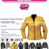 Lambskin leather biker jacket genuine sheep leather jacket for women genuine leather jacket | Women's Yellow Leather Jacket