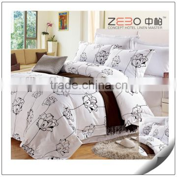 Twin Full Queen King Size Five Stars Hotel Bedding Set 100% Cotton White Printed Duvet Cover Set 4pc