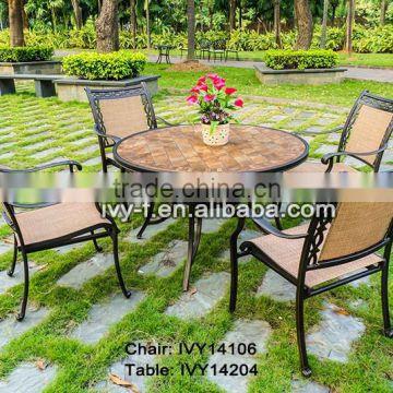 5 Pcs Dining Set Mosaic Tabletop Ceramic Garden Table Set Home