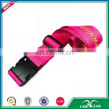 Wholesale pink color luggage strap with plastic scale