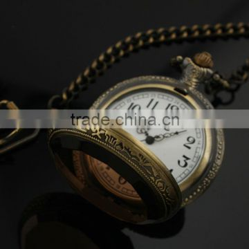 New Mens Stainless Steel Case White Dial Amber Front Antique Pocket Watch with Chain